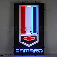 Camaro Red White And Blue Neon Sign With Backing